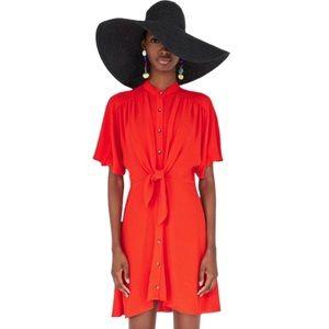 Zara Red Button Down Front Tie Dress Size 28 M